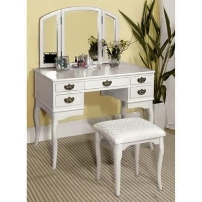furniture of america cm dk6405 ashland vanity table with stool rh pinterest com