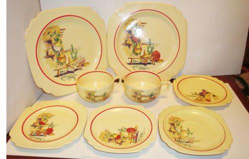 1930s-Homer-Laughlin-Riviera-Fiesta-8-Diff-Pieces-Hacienda-Mexicana