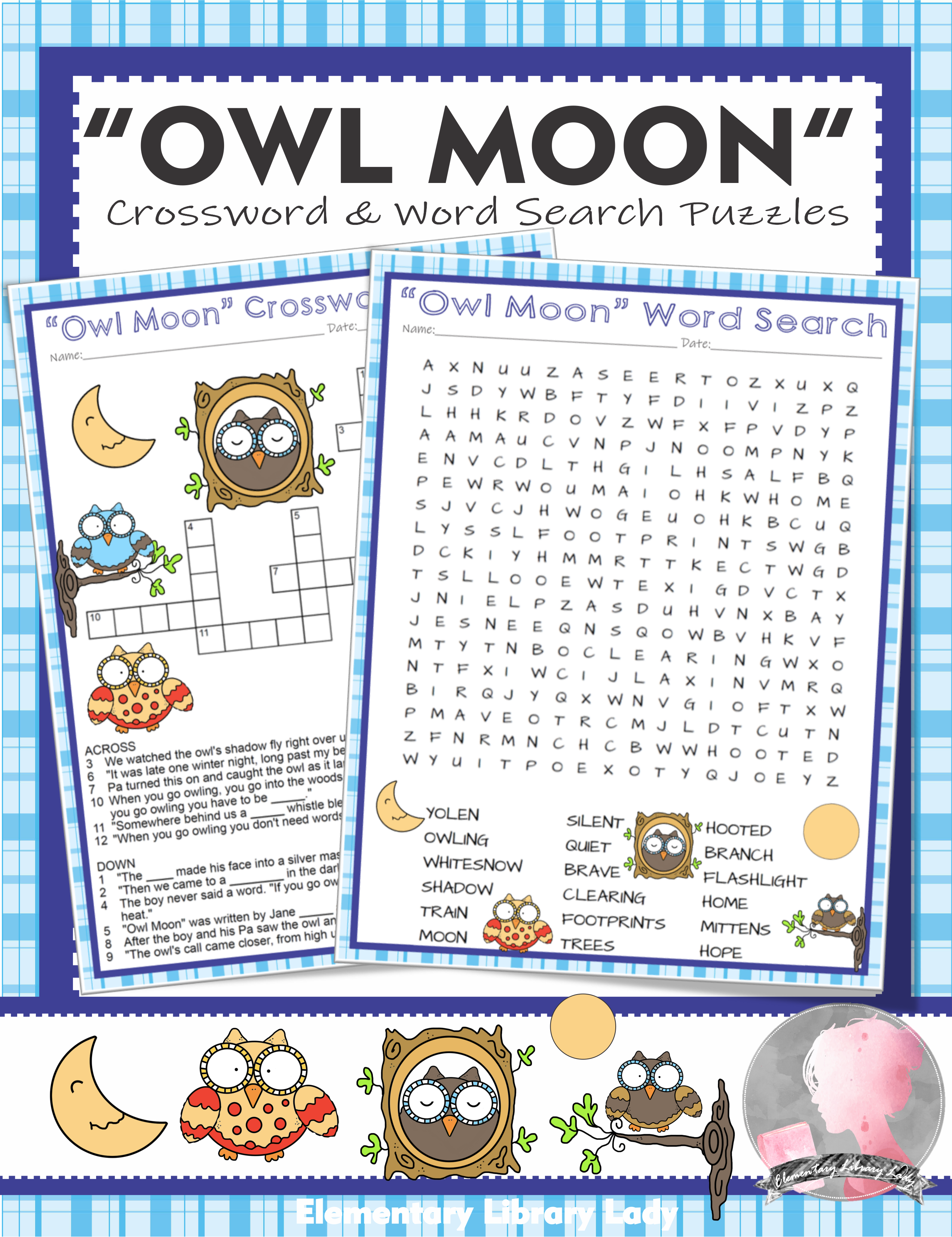 Owl Moon Activities Yolen Crossword Puzzle And Word