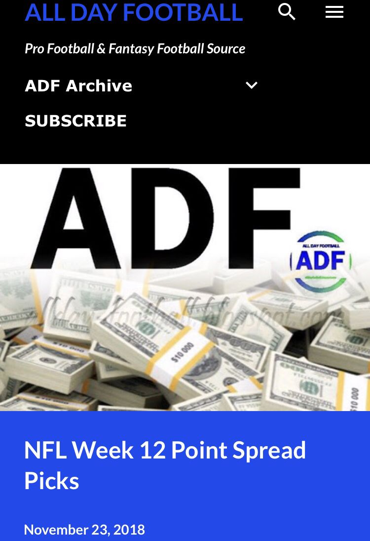 just released nfl week 12 point spread picks allday football rh pinterest com