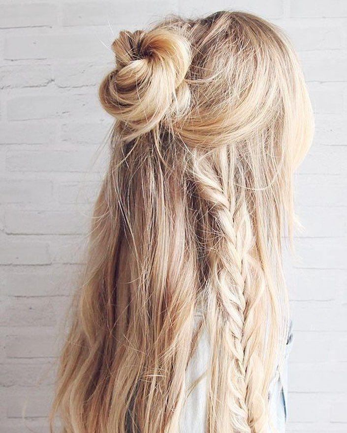 Half up top knot hairstyle #halfuphalfdown