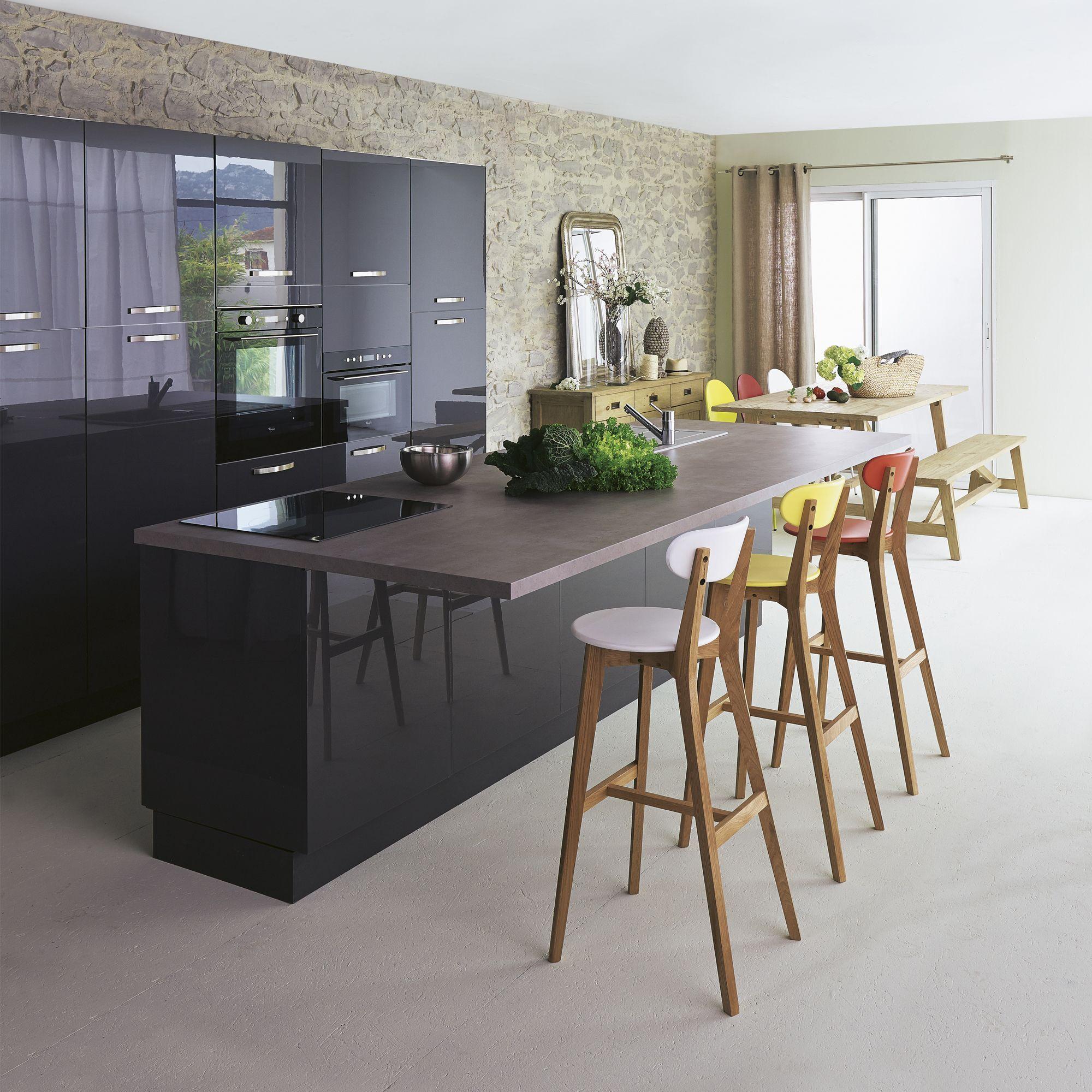 Table Haute Cuisine Alinea cuisine à composer - modèle type rimini gris - meubles de
