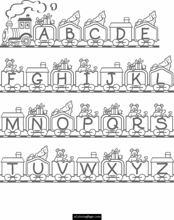 Alphabet Train Coloring Page For Kids Printable