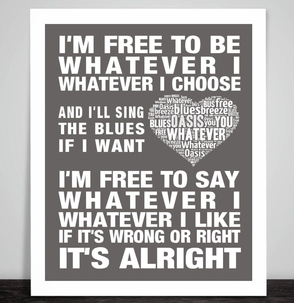 Oasis  Song Lyrics Typography A3 Print Poster Artwork Home Champagne Supernova