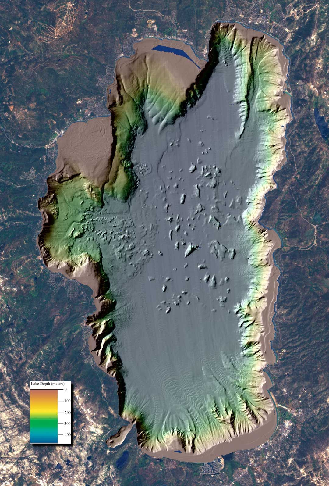 Lake Tahoe depth map Lake Tahoe depth