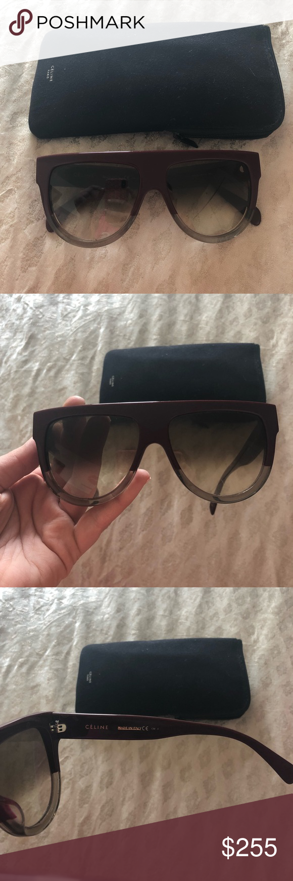 cf8c9d56b8 Celine Flat Top Sunglasses Authentic Celine sunglasses in the flat top  shape. Dark red tint  grey combo. Great condition minus a few microscopic  scratches ...