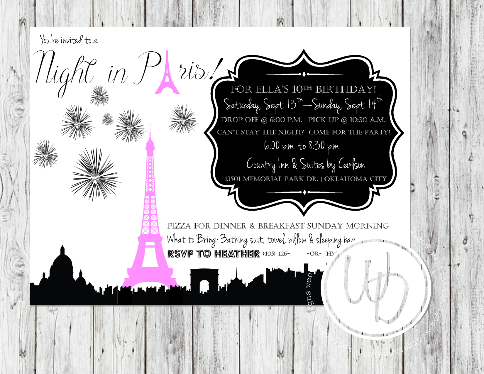 Paris themed invitation by Wentroth Designs. Visit us on
