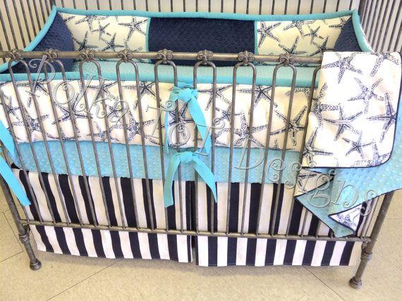 Starfish Beach Crib Bedding Navy Aqua By Polkatotbedding On Etsy
