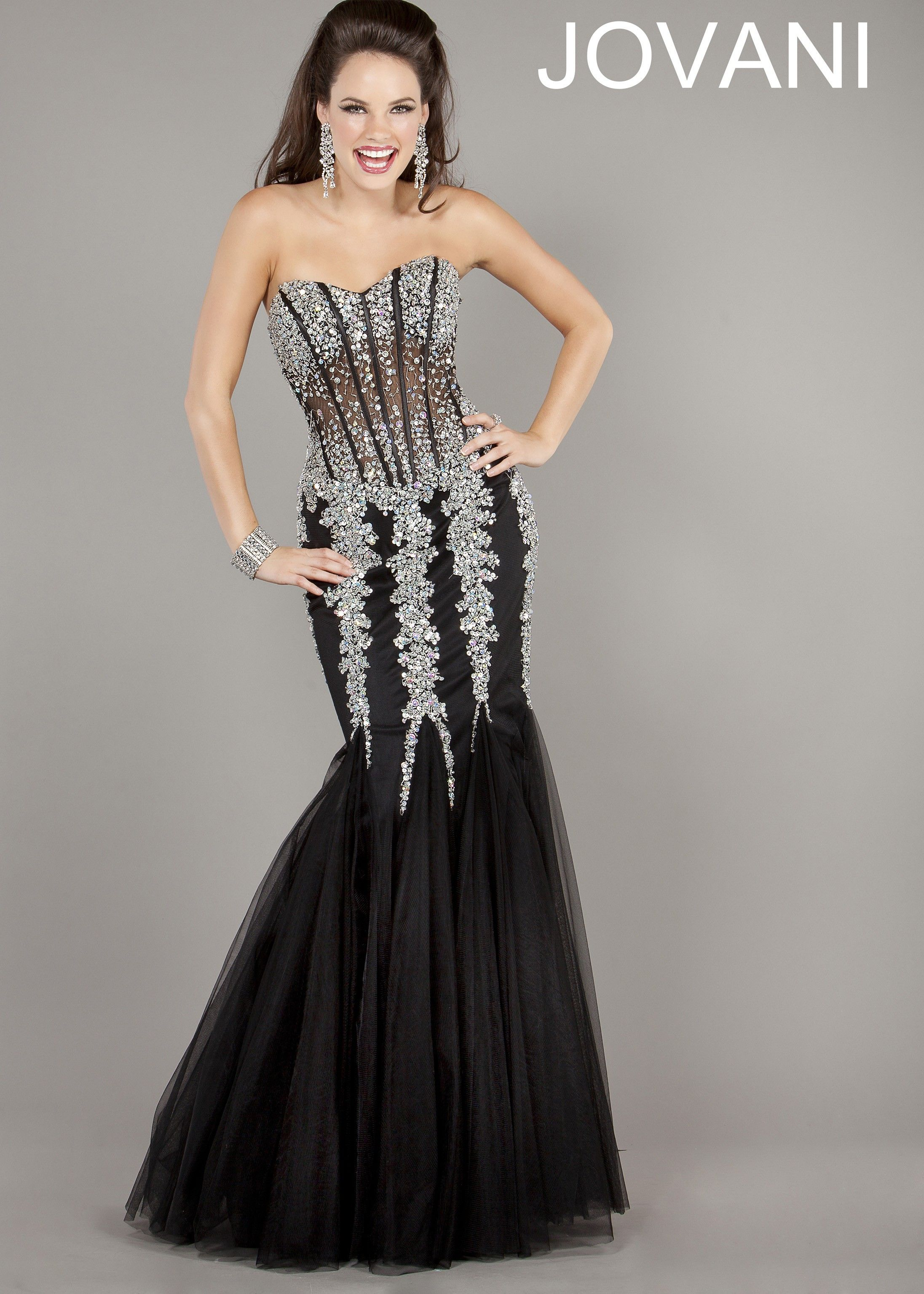 fadaeeb831ea Jovani 5908 Sheer Corset Beaded Mermaid Gown | 2013 Prom Collection ...