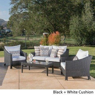 christopher knight home outdoor antibes 4 piece wicker chat set with rh pinterest com