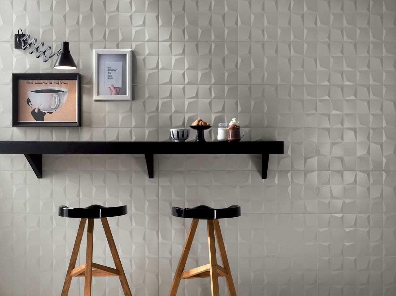 Indoor white paste wall tiles LUMINA 305x56 by