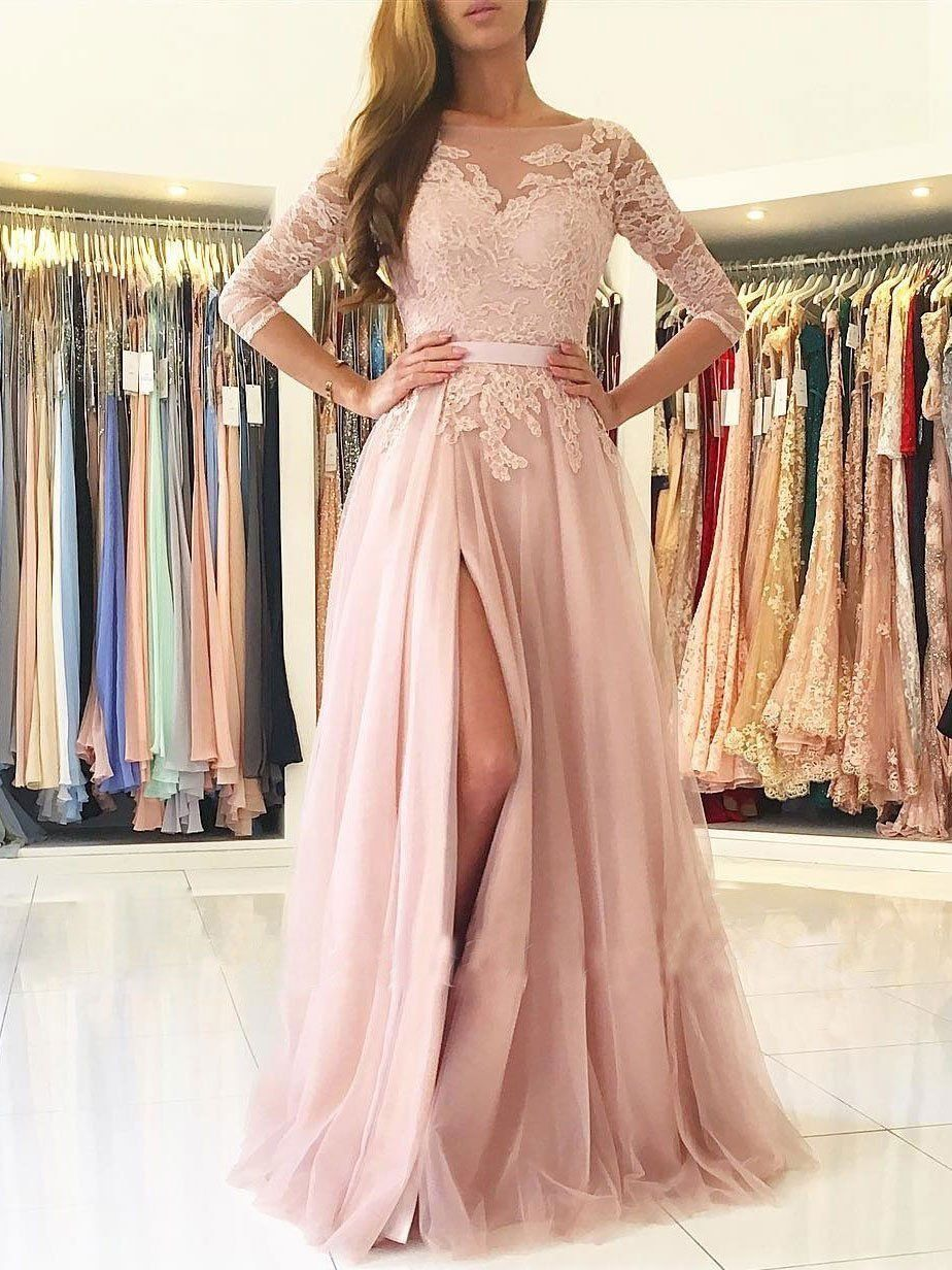 Aline illusion neck lace and tulle skirt half sleeves long prom
