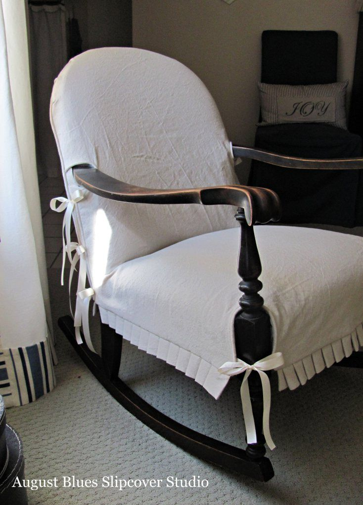 august blues antique rocking chair slipcover with ties to fit rh pinterest com