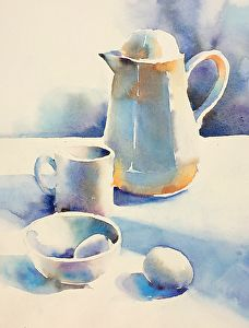 Morning White On White By Yvonne Joyner Watercolor 14 In X 10 In