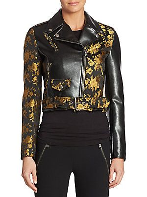 Moschino - Floral-Print Leather Jacket