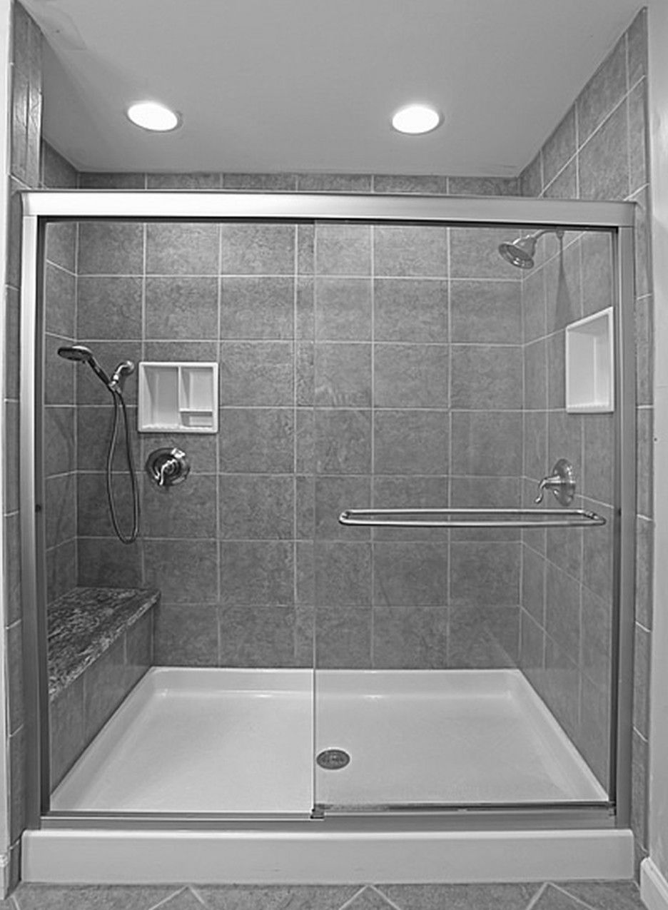 Bathroom. small bathroom with glass shower stall and gray ceramic ...