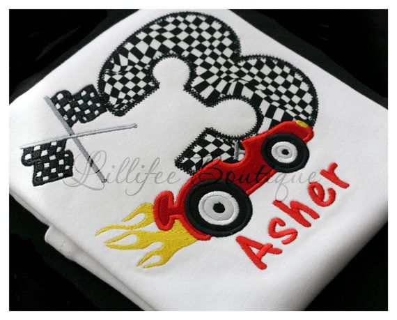 Race Car With Birthday Number Applique Tshirt By Lillifeeboutique