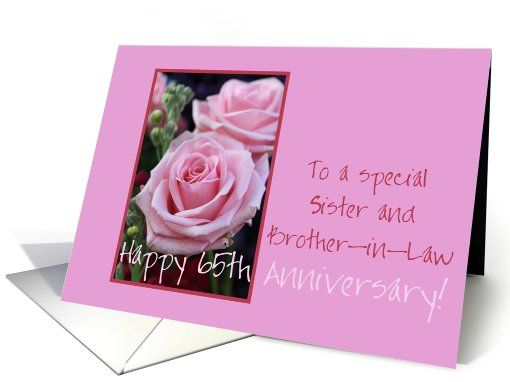 65th Anniversary Sister And Brother In Law Pink Roses Card
