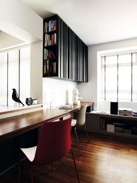 Home Office Design Ideas Use The Bay Window For Your Work: study table facing window
