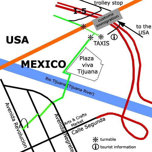 Map Of Us Mexico Border Crossings.Visitor Guide To Crossing The U S Mexico Border At Tijuana Border