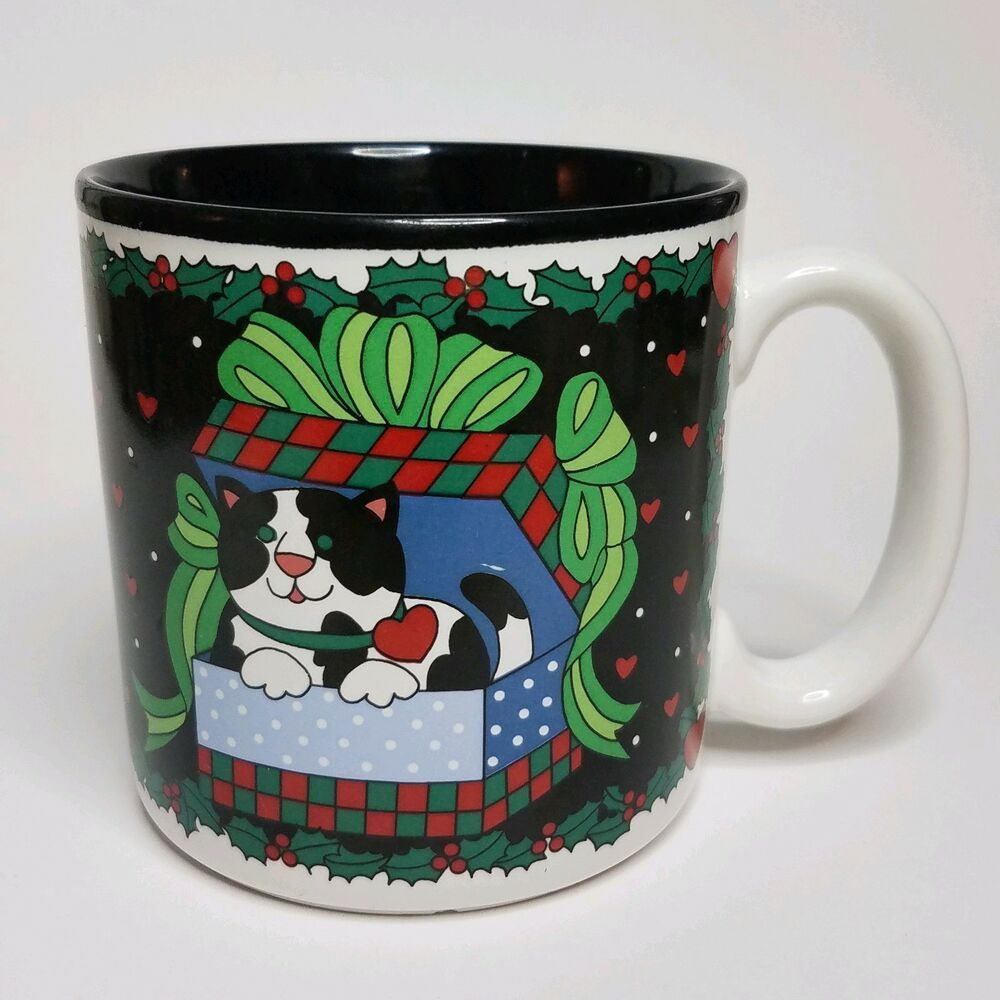 Cat in gift box coffee mug cup 1994 christmas surprise