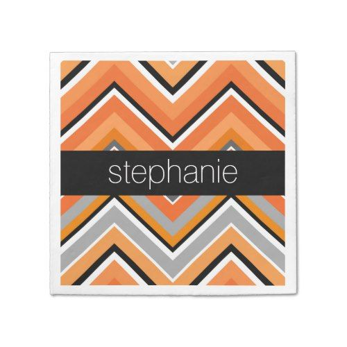Chic Chevron Pattern Black Gray Orange with Name Paper Napkin