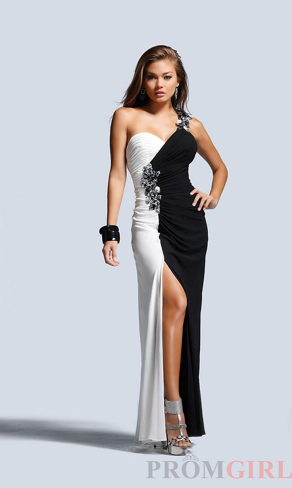 black and white clothing | ... Gowns at PromGirl: One Shoulder ...