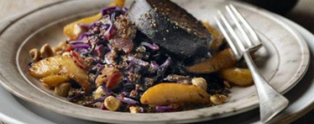 Warm Salad of Red Cabbage, Bury Black Pudding & Apple