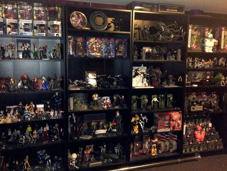 Collection Of Action Figures In Billy Bookcase Billy And