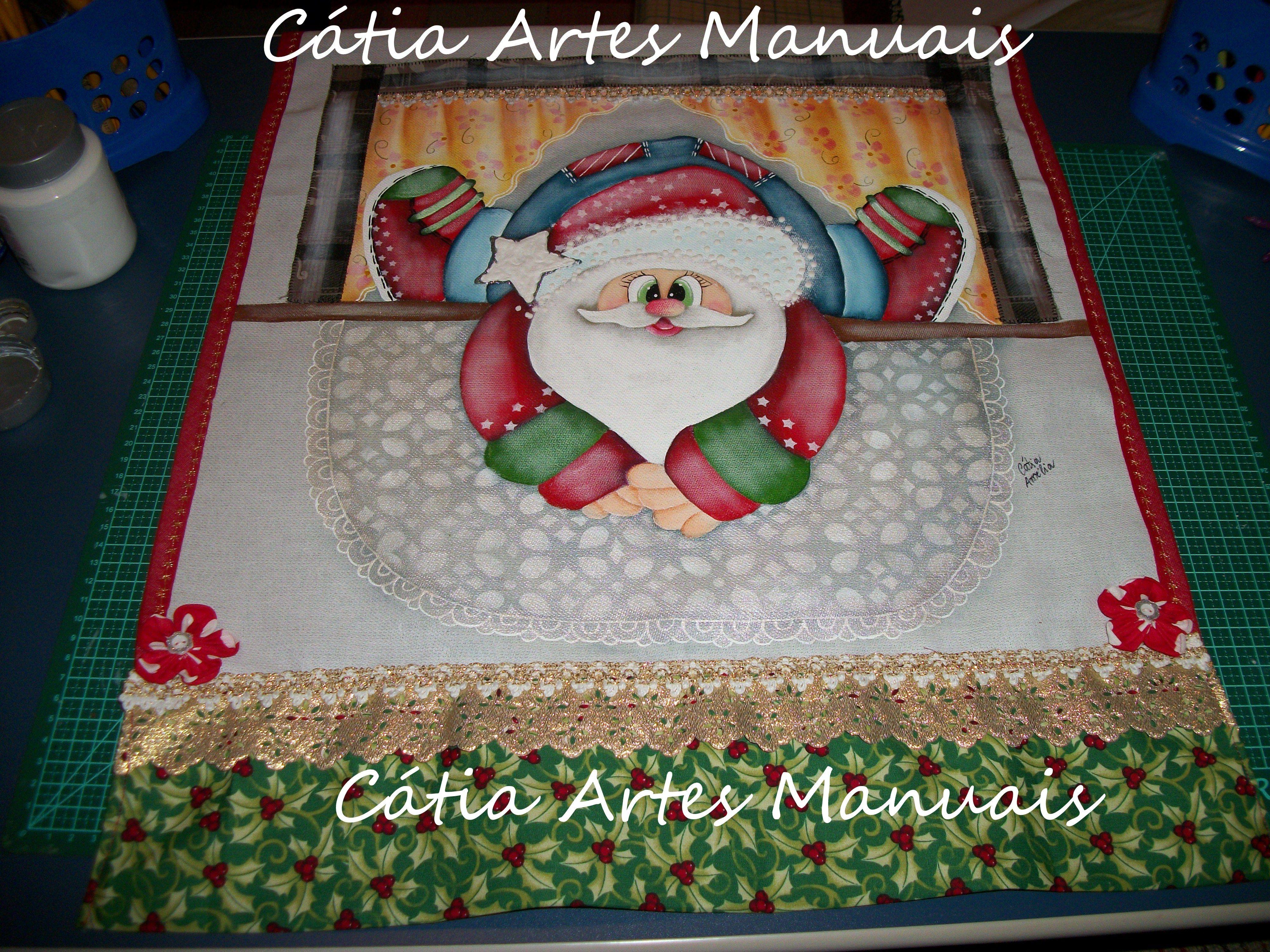 Pano de copa Papai Noel pintado com patch