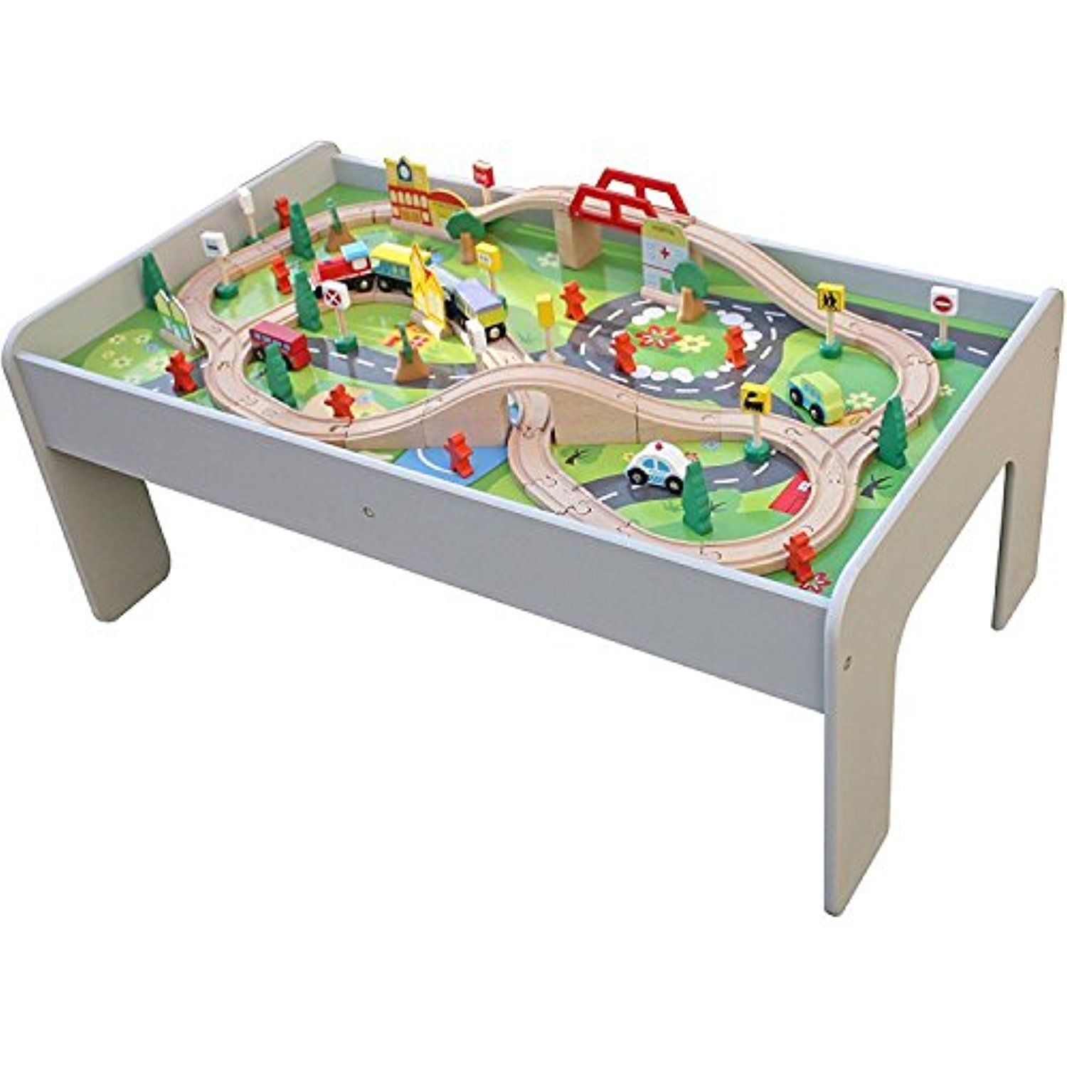 Pidoko Kids Train Table, Grey with 90 Pcs Train Set and Accessories ...