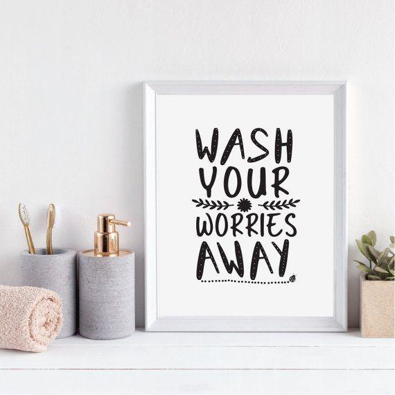 wash your worries away funny bathroom poster decor humor toilet rh pinterest com