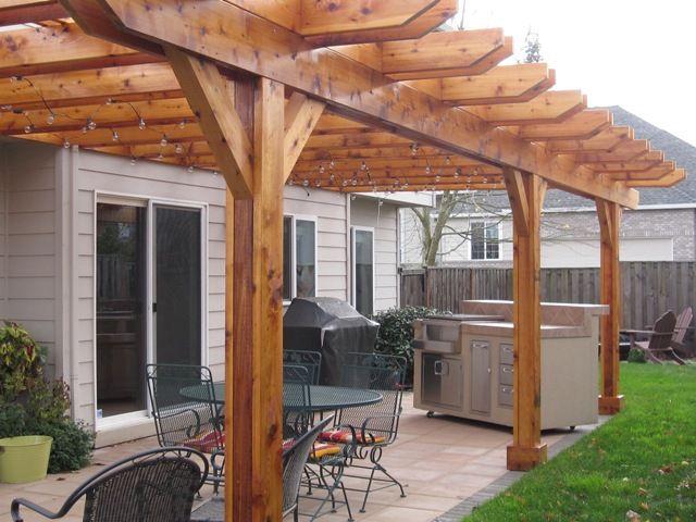 Cedar pergola and outdoor kitchen tigard http for Southwest pergola