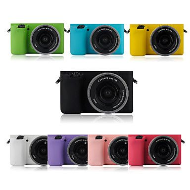 dengpin moda armadura de borracha de silicone macio pele saco caso para câmera Sony Alpha ilce-6000L A6000 (cores sortidas) - BRL R$ 60,92