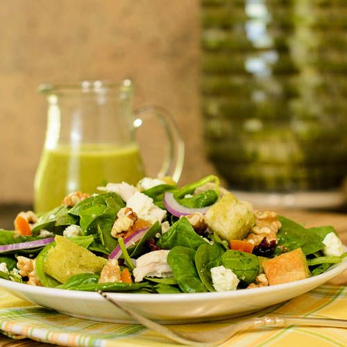 Turkey Spinach Salad with Fresh Herb Vinaigrette for #WeekdaySupper #ChooseDreams