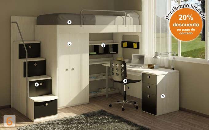 Mueble: (Código A99) cama-marinera-con-escritorio - AGIOLETTO ...
