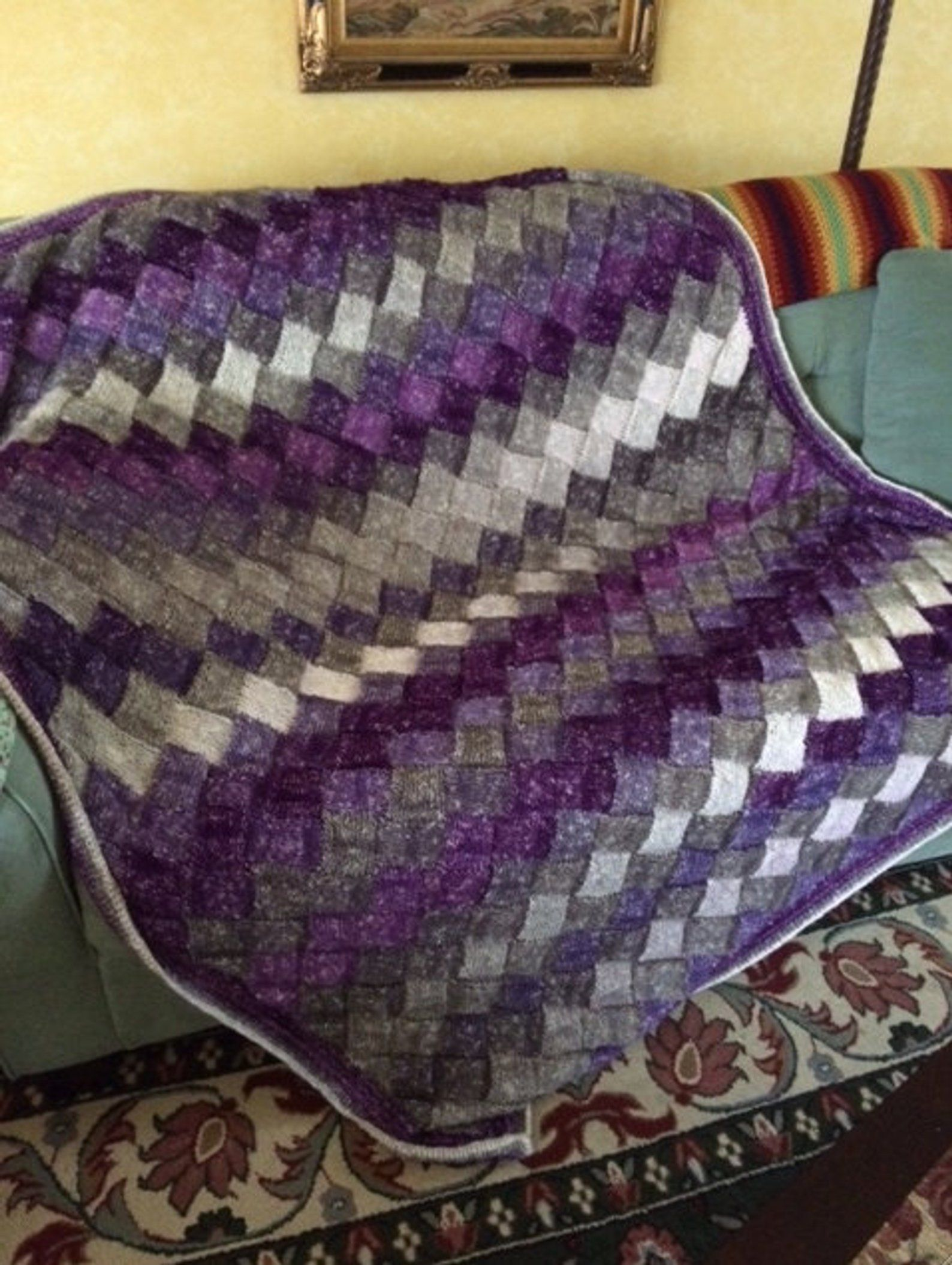 Hand Knit Entrelac Throw Twin Bed Size - Made to Order ...