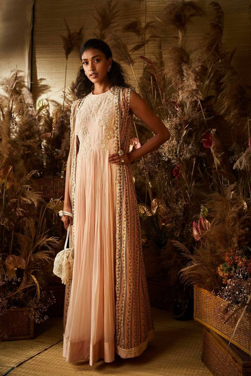 2c73728d7c Cleome – Ridhi Mehra - A beautiful peach anarkali with a long printed cape  and pearl