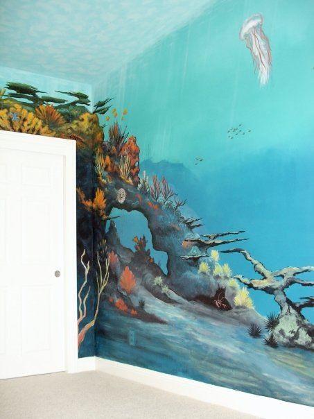 under water kids room mural by artist robert s lindsey www rh pinterest com