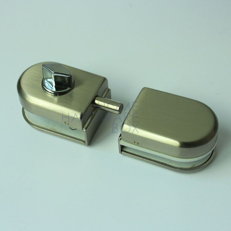 Stainless Steel Glass Door Lock Latch No Key Double Swing Hinged Frameless 12mm Glass Door Lock Glass Door Door Locks