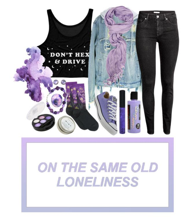 An original set by me!  Lavender Lameass by jaded136 on Polyvore featuring polyvore, fashion, style, H&M, HOT SOX, Converse, Ippolita, NYX, CB2, Eos, Manic Panic NYC and clothing