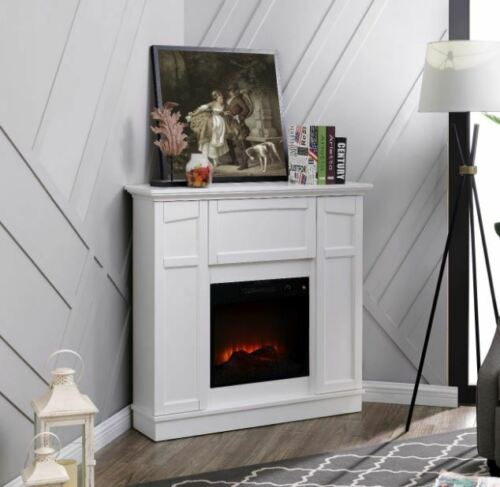 Electric Fireplace Wall Corner Heater Fan Led Flame Storage Cabinet Fire Heating In 2020 Electric Fireplace Wall Corner Electric Fireplace Corner Fireplace