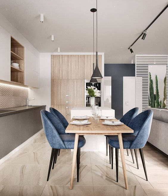 Modern Dining Room With Clean Lines And Neutral Stone Wall: Pin By Ekaterina Gaponenko On Kich