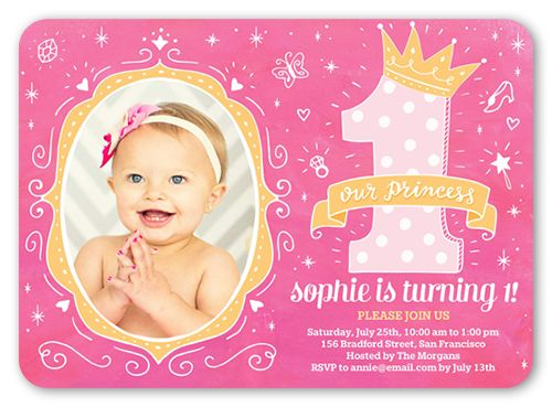 Princess Doodles Baby Girl 1st Birthday Invitation With Images
