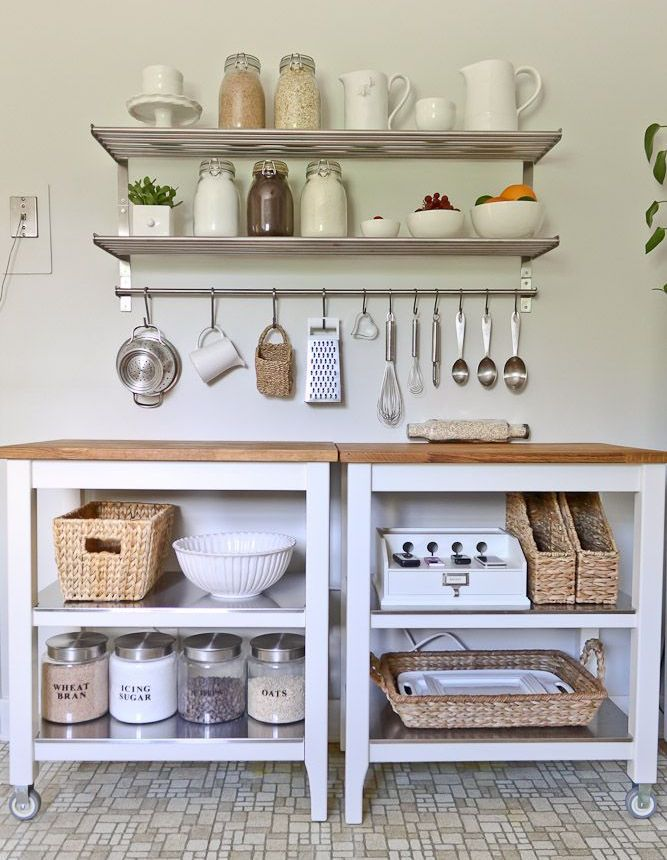 In small spaces, a STENSTORP cart and shelves open up your kitchen - estantes para cocina