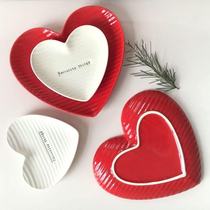 Ceramic Red/White Heart Design Plate