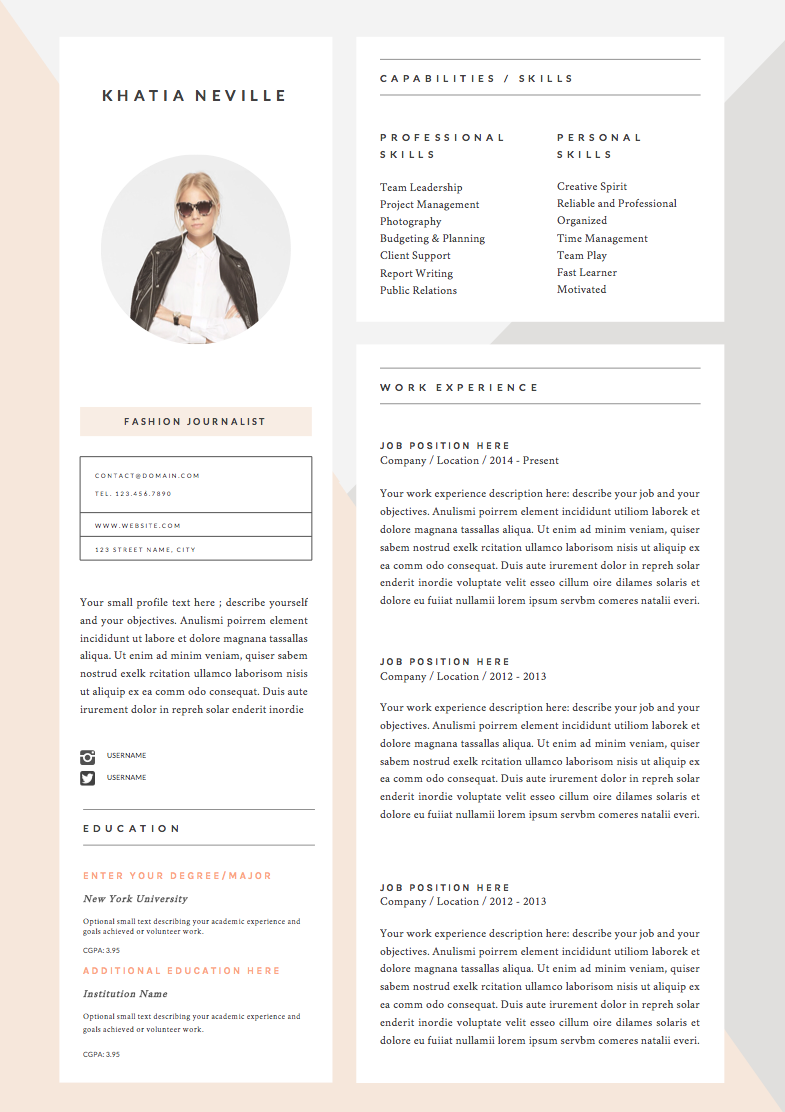 Resume Template Page  Modern Muse By TheResumeBoutique On