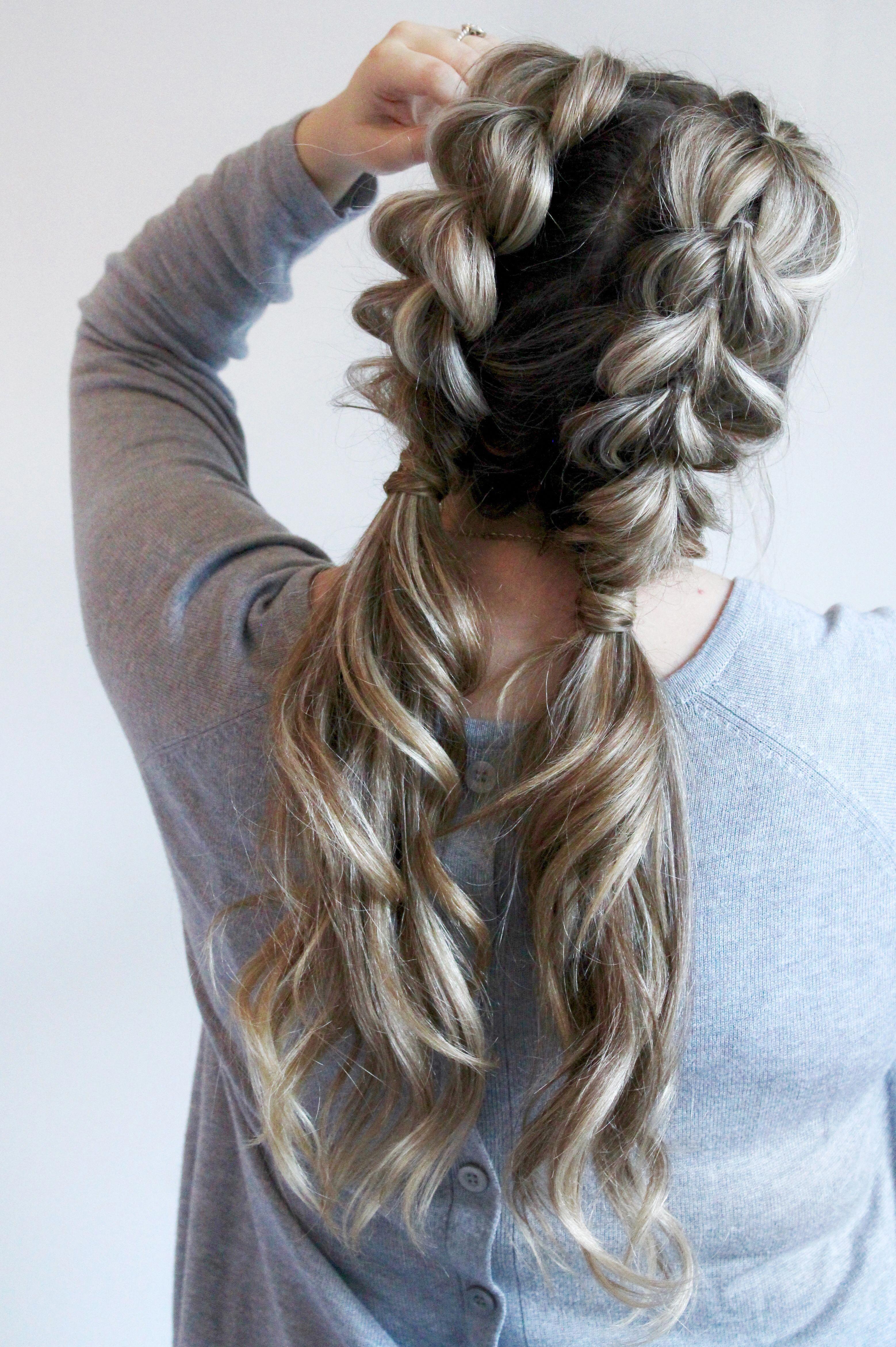 Jumbo Pull Through Braid Pigtails Tutorial Cassie Scroggins Cool Braid Hairstyles Hair Styles Long Hair Styles
