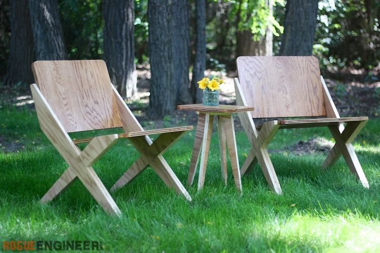 1 Sheet Of Plywood 2 Chairs 1 Side Table Free Plans Plywood Projects Diy Furniture Projects Plywood Chair