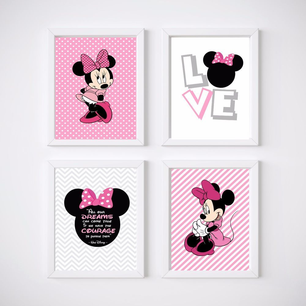 4 print set minnie mouse nursery room prints kids wall decor nurseryprint ebay pinterest. Black Bedroom Furniture Sets. Home Design Ideas